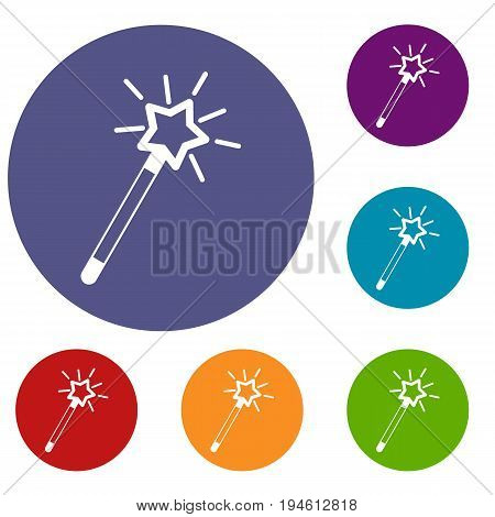 Magic wand icons set in flat circle reb, blue and green color for web