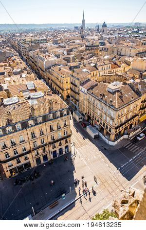 Aerial cityscape view on the streets in the old town of Bordeaux city during the sunny day in France
