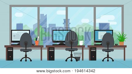 Office room interior with workplaces big window and landscape