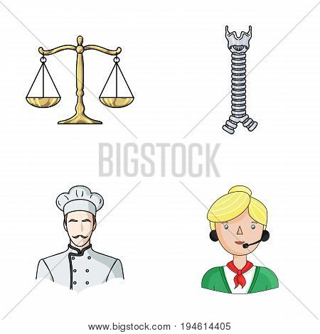 justice, finance and other  icon in cartoon style.Medicine, profession icons in set collection.