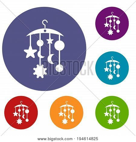 Baby bed carousel icons set in flat circle reb, blue and green color for web