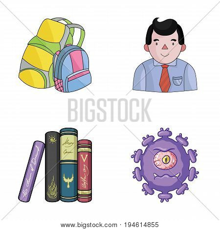 tentacles, education and other  icon in cartoon style.library, medicine icons in set collection.