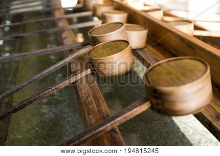 Water bamboo ladle in japanese temple