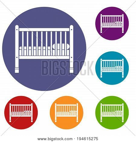 Baby bed icons set in flat circle reb, blue and green color for web