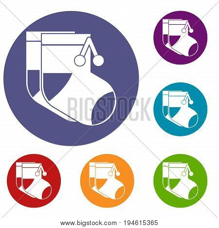 Baby socks icons set in flat circle reb, blue and green color for web