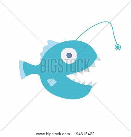 Fish angler, sea creature. Vector illustration, isolated on white background
