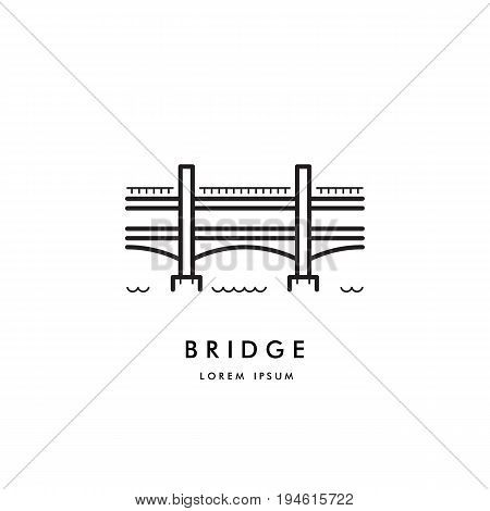 Vector logo a simple two-tier bridge, the symbol of the artery. The logo of the bridge drawn in the outline style