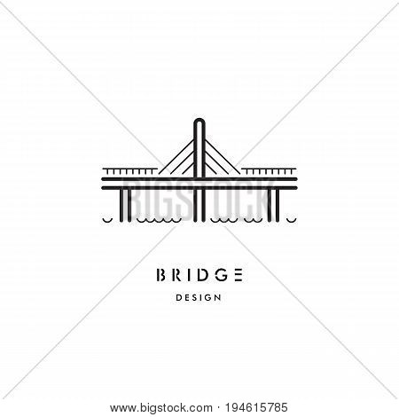 The logo with the image of the cable bridge. Vector logo of the bridge isolated on white background