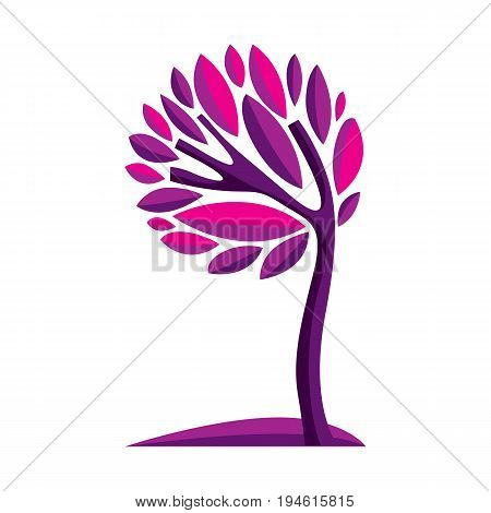 Artistic Stylized Natural Symbol, Creative Tree Illustration. Can Be Used As Ecology And Environment
