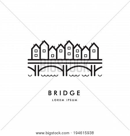 Vector logo of the bridge on which stood houses and shops