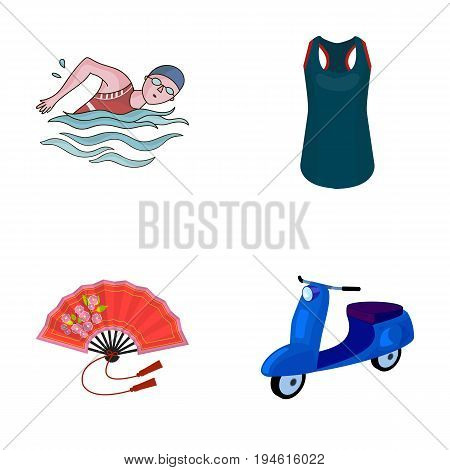 sport, textiles, industrial and other  icon in cartoon style., moped, motorcycle, transportation, icons in set collection.