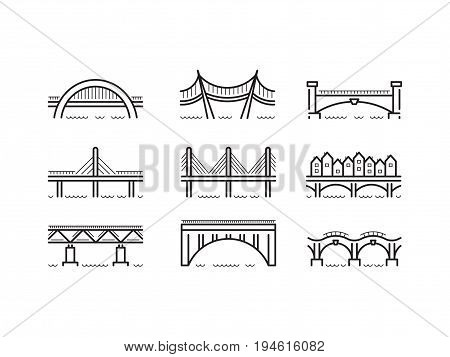 Set of linear icons bridges of different typologies and designs. Vector logos bridges in flat outline style isolated on white background.