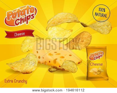 Vector design template for Chips advertising. Package with place for design. Cheese chips on light background. 3d illustration.