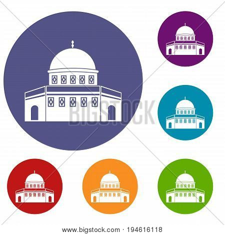 Dome of the Rock on the Temple Mount icons set in flat circle reb, blue and green color for web