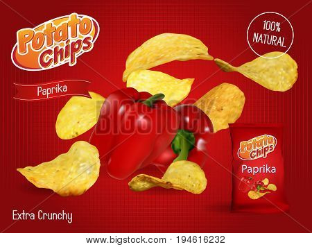 Vector design template for Chips advertising. Package with place for design. Paprika chips on light background. 3d illustration,