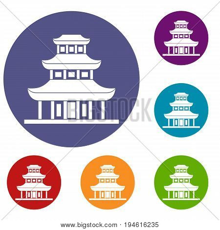 Buddhist temple icons set in flat circle reb, blue and green color for web