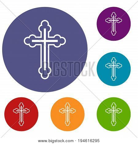 Crucifix icons set in flat circle reb, blue and green color for web