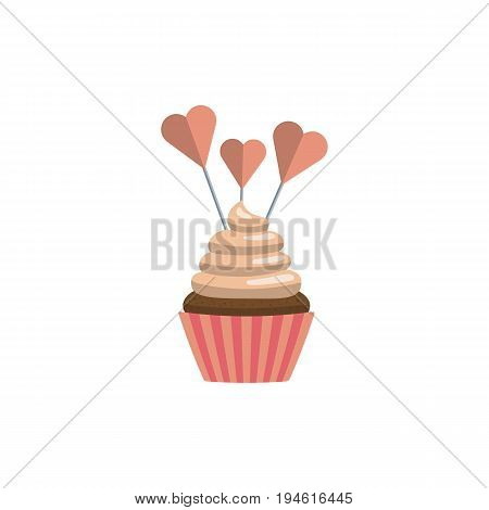 Cupcake in flat style decorated with toppers isolated on white background. Cakes for a festive sweet table.