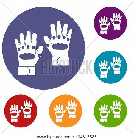 Pair of paintball gloves icons set in flat circle reb, blue and green color for web