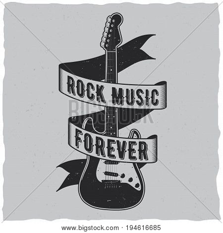 Rock music forever poster with guitar in the centre vector illustration