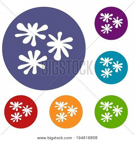 Paintball blob icons set in flat circle reb, blue and green color for web