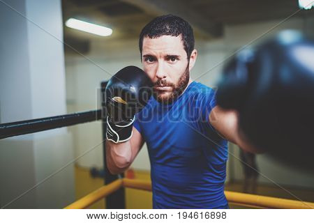 Young boxer doing some training on punching bag on ring. Bearded caucasian boxer training workout exercise in gym.Concept of a healthy lifestyle.Horizontal.Blurred background