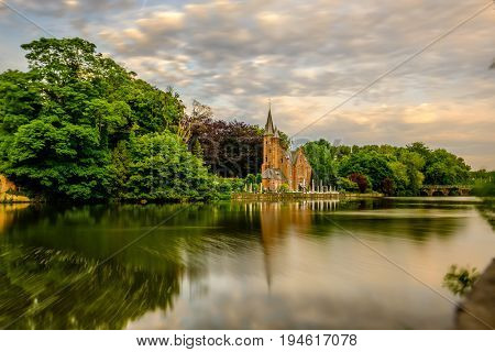 Bruges (Brugge) cityscape with Minnewater lake, Flanders, Belgium