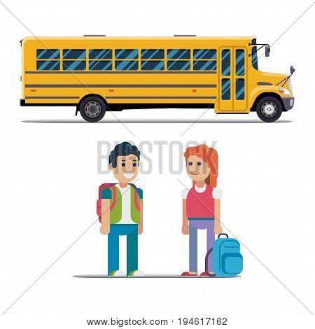 Children get on school bus. Vector illustration