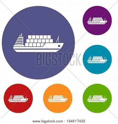 Cargo ship icons set in flat circle reb, blue and green color for web