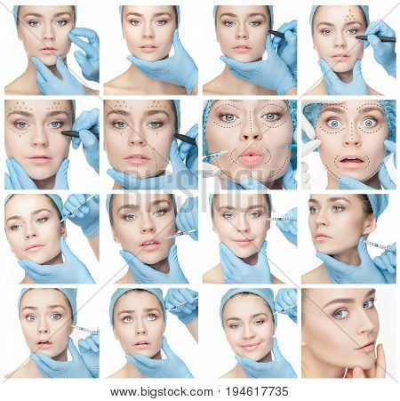 Attractive woman at plastic surgery with syringe in her face. Collage