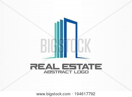 Abstract logo for business company. Corporate identity design element. Real estate service, construction, agent logotype idea. Growth skyscraper building concept, luxury apartment. Color Vector icon