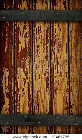 Dark Wood barn door with peeling paint texture