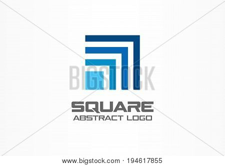 Abstract logo for business company. Corporate identity design element. Technology, Industrial, Logistic, Social Media logotype idea. Square, network, banking growth concept. Colorful Vector icon