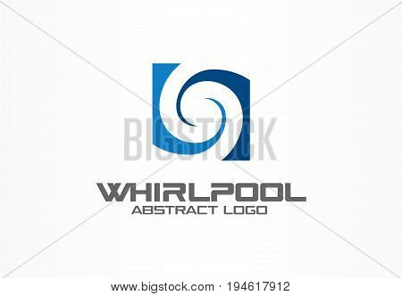 Abstract logo for business company. Corporate identity design element. Eco, nature, whirlpool, spa, aqua swirl Logotype idea. Water spiral, blue circle two segment mix concept. Colorful Vector icon
