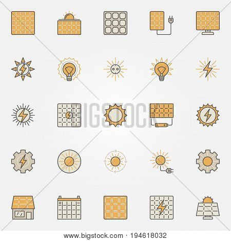 Solar energy colorful icons - vector creative sun and solar panels symbols or design elements