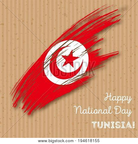 Tunisia Independence Day Patriotic Design. Expressive Brush Stroke In National Flag Colors On Kraft