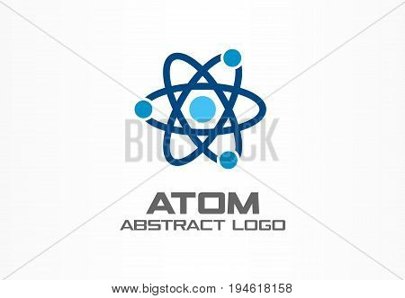 Abstract logo for business company. Corporate identity design element. Infinity atom energy, orbit connect, nuclear reactor core, nuclear logotype idea. integrated molecule concept. Color Vector icon