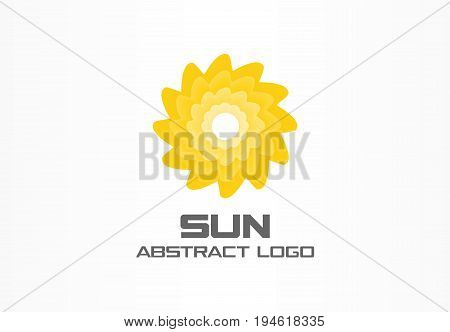 Abstract logo for business company. Corporate identity design element. Summer travel, eco, rotation sun, hot energy, yellow sunlight logotype idea. Environment, nature concept. Colorful Vector icon