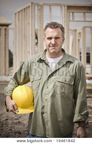 Rugged Mature Male Construction Worker