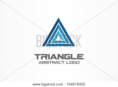 Abstract business company logo. Corporate identity design element. Development, finance, bank logotype idea. Triangle integrate, market, technology growth, arrow up concept. Color Vector connect icon