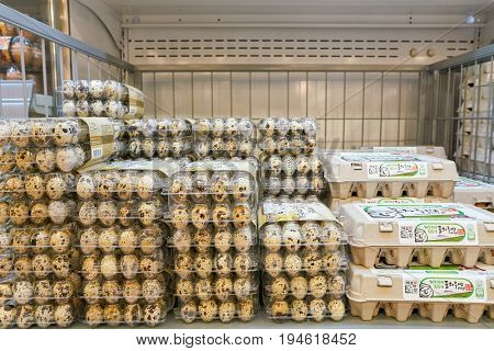 SEOUL, SOUTH KOREA - CIRCA MAY, 2017: eggs on display at on display at Lotte Mart in Seoul.