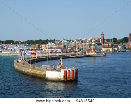 Stunning Cityscape of Helsingborg, Sweden as seen from the ferry on The Sound or Oresund strait