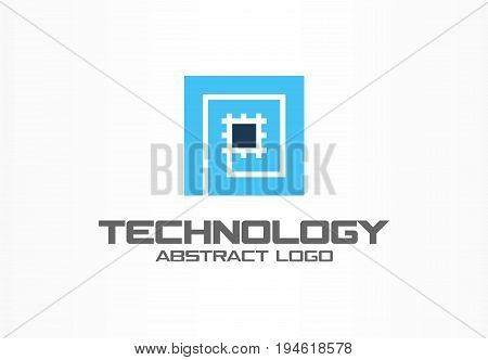 Abstract logo for business company. Corporate identity design element. CPU, processor, Chip, motherboard logotype idea. Computer technology concept. Colorful Vector icon