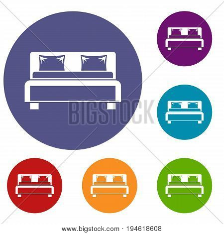 Double bed icons set in flat circle reb, blue and green color for web