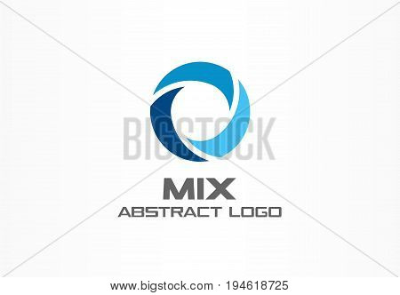 Abstract logo for business company. Corporate identity design element. Globe, teamwork, healthcare, aqua swirl Logotype idea. Water blue, circle three segment mix concept. Colorful Vector icon