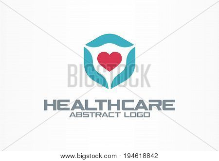 Abstract logo for business company. Corporate identity design element. Healthcare, medical service, clinic logotype idea. Cardio shield, heart protection healthy concept. Colorful Vector icon