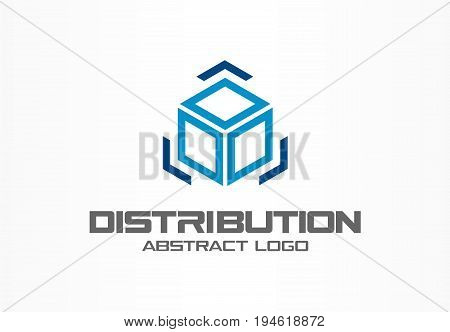 Abstract logo for business company. Corporate identity design element. Technology, Logistic, Distribution logotype idea. Cargo box and arrows around, delivery, export, integrate concept. Vector icon