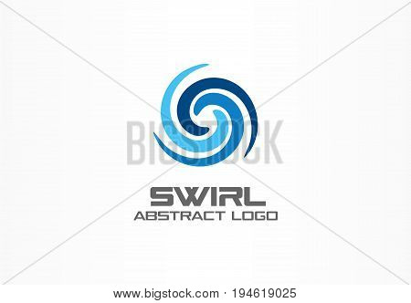 Abstract logo for business company. Corporate identity design element. Eco, nature, whirlpool, spa, aqua swirl Logotype idea. Water spiral, blue circle three segment mix concept. Colorful Vector icon
