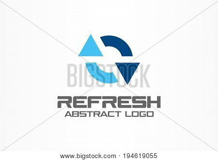 Abstract logo for business company. Corporate identity design element. Exchange currencies, synchronization, refresh arrows logotype idea. Circle mix, bank, recycle concept. Colorful Vector icon
