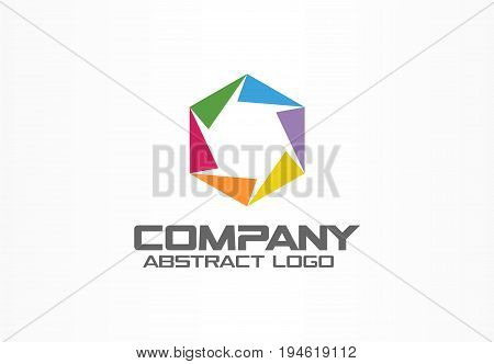 Abstract logo for business company. Corporate identity design element. Camera diaphragm, color photo studio logotype idea. Connect, paint mix, integrated hexagon concept. Colorful Vector icon
